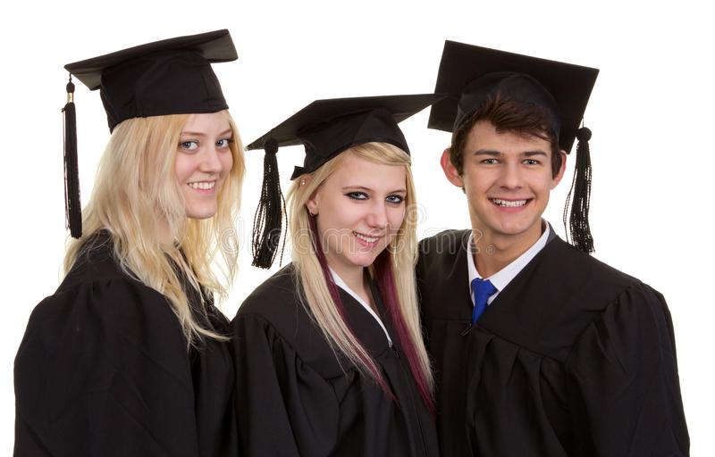 三个毕业生 库存图片