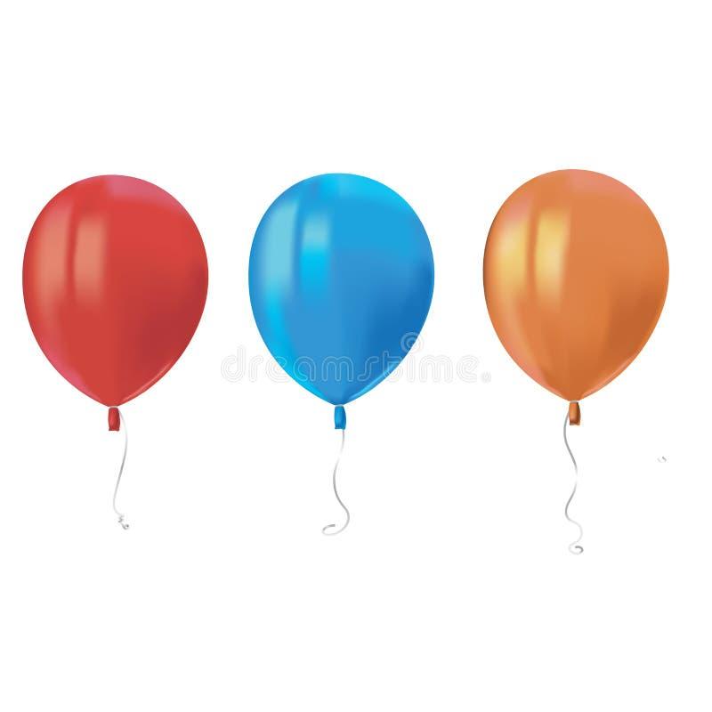 三个现实空气飞行气球与在白色背景反射隔绝 生日宴会或balloo的欢乐装饰元素 向量例证