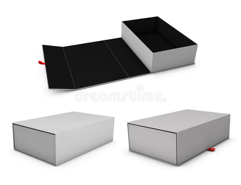 三个现实空的软件箱子的例证有部分的您的产品的 库存例证