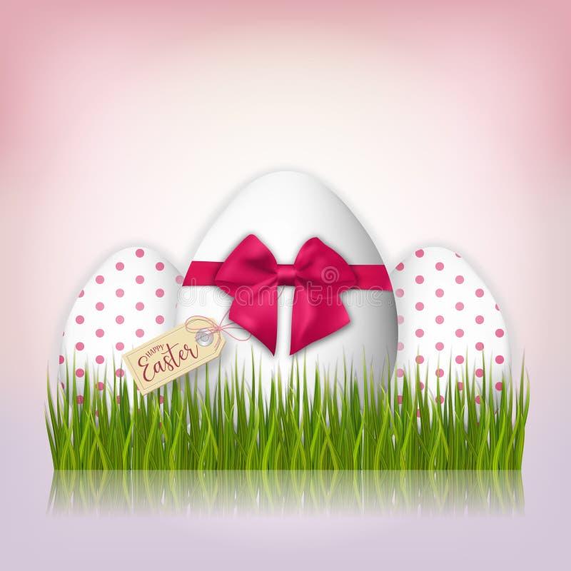 三个白色复活节彩蛋 背景上色了复活节彩蛋eps8格式红色郁金香向量 向量例证