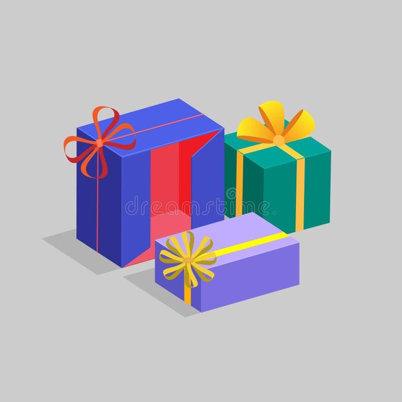 三个礼物盒不同的形状和颜色 一个假日的概念 也corel