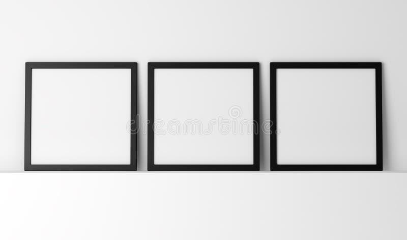 三个空白的黑照片框架 向量例证