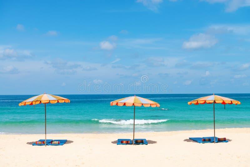 三个空的sunbeds和海滩遮阳伞遮光罩在沙子靠岸 免版税库存照片