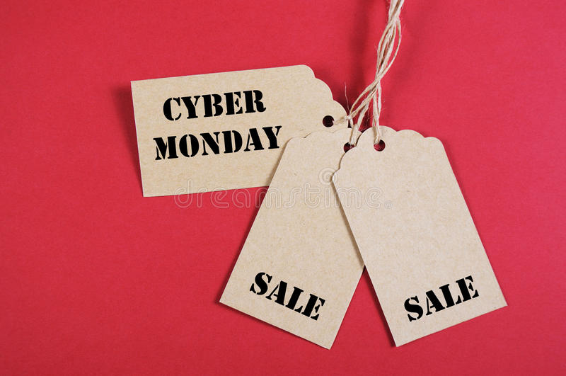 三个网络星期一销售标记 免版税库存照片