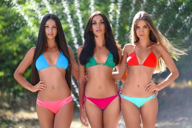 三个美丽的性感的女孩画象海滩的 免版税库存照片