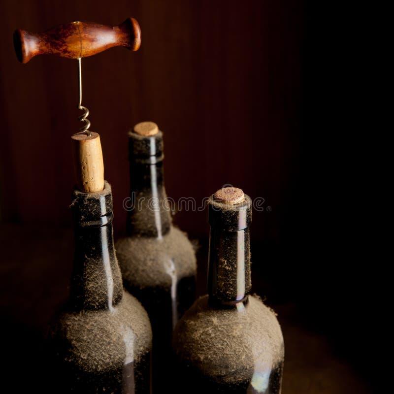 三个老酒瓶和拔塞螺旋 库存图片