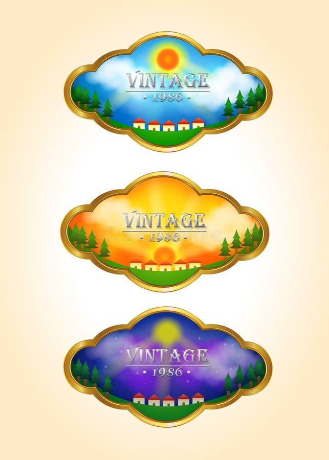 三个葡萄酒定期流逝风景标记象 皇族释放例证