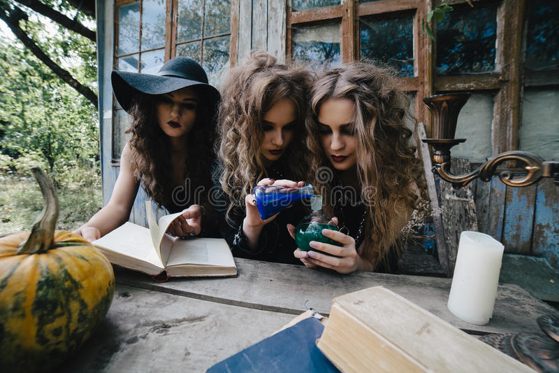 三个葡萄酒巫婆进行不可思议的仪式 免版税库存照片