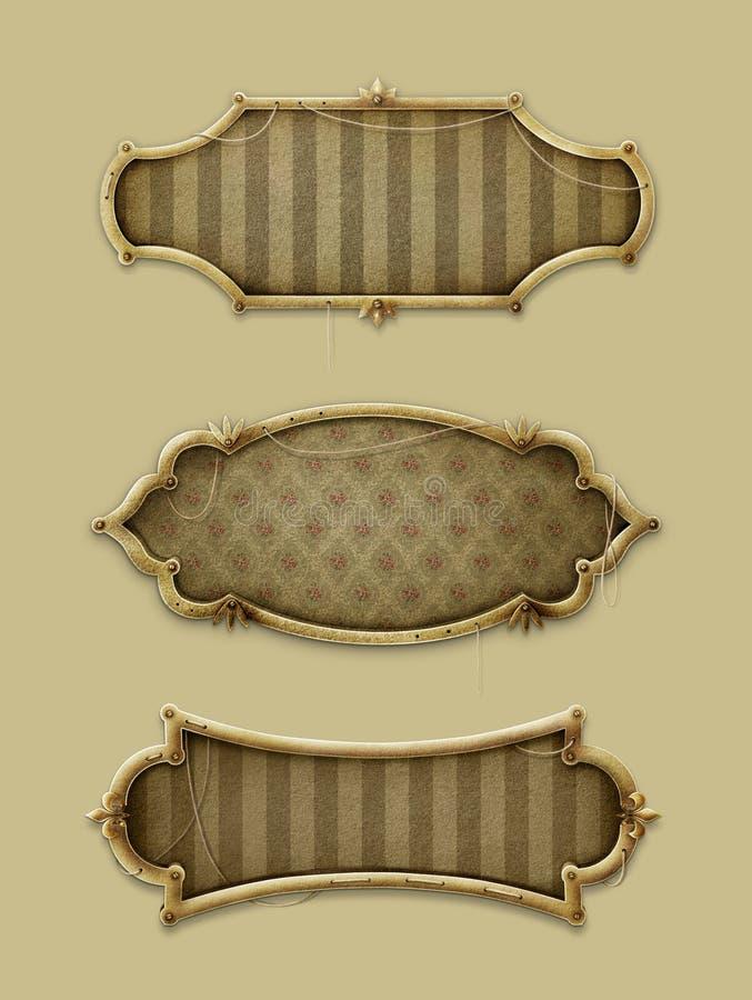 三个葡萄酒框架 向量例证
