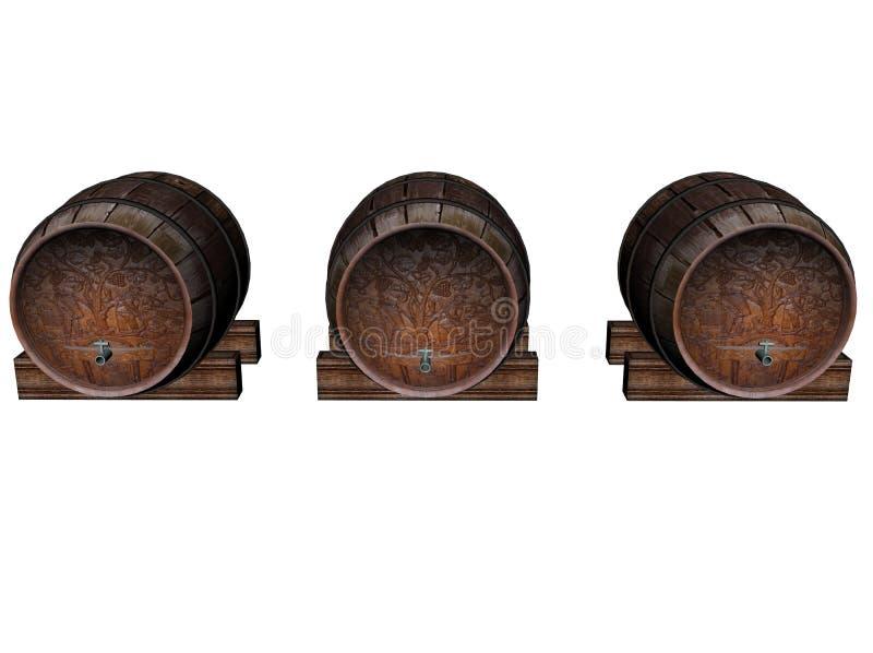 三个葡萄酒桶 库存例证