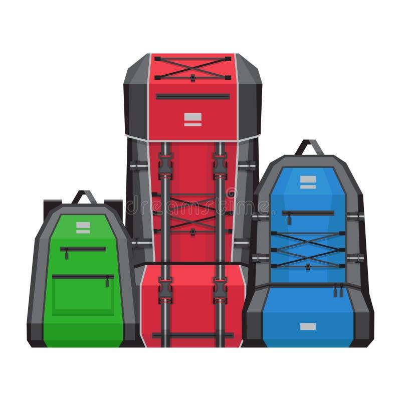 三个远足的背包 传染媒介例证,平的样式 向量例证
