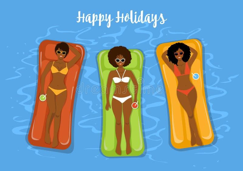 三个逗人喜爱的在可膨胀的matresses的女朋友晒日光浴的游泳在水池 向量例证