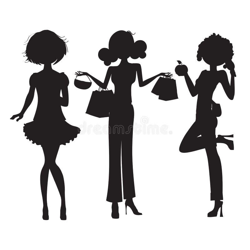 三个逗人喜爱的方式女孩剪影  向量例证
