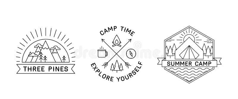 三个野营的商标Aet  向量例证