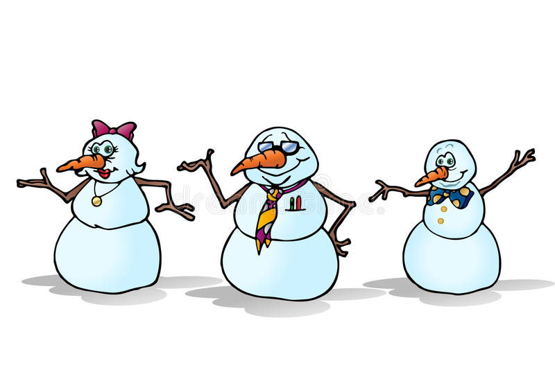 三个雪人系列 库存例证