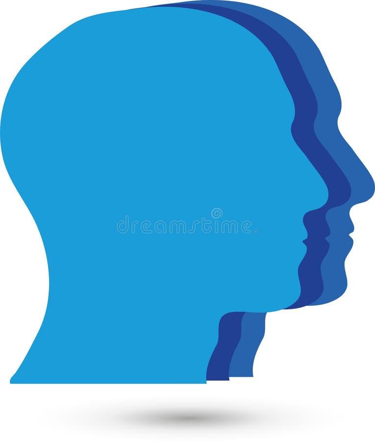 三个面孔、头、人和队商标 库存例证