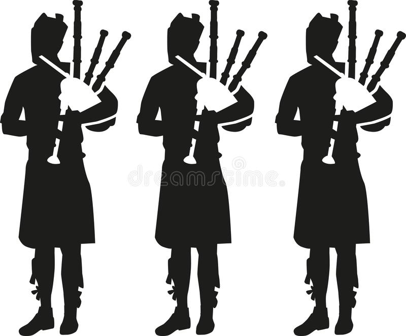 三个风笛球员剪影 皇族释放例证