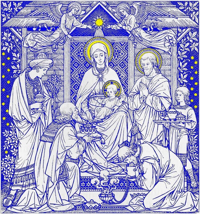 三个魔术家石版印刷在未知的艺术家的Missale Romanum 库存例证