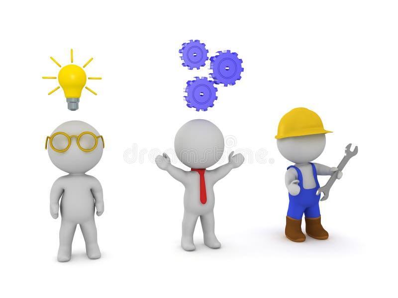 三个3D字符发明者、企业家和工作者 向量例证