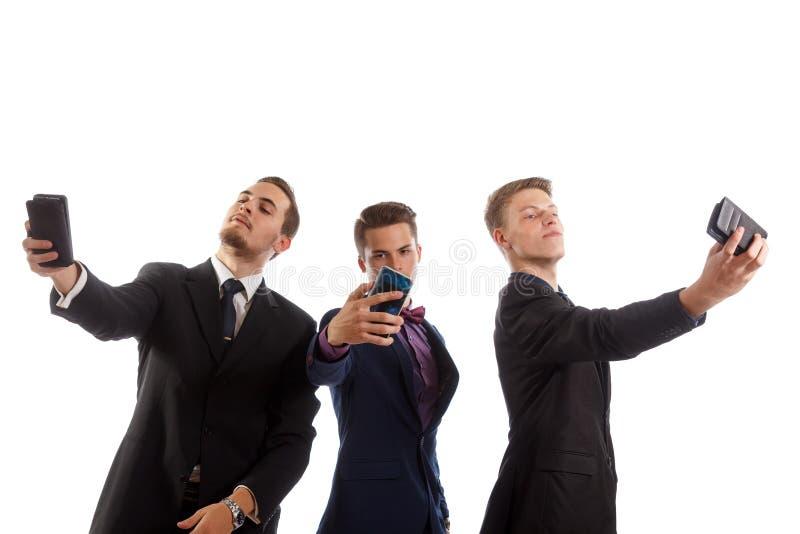 三人selfies 免版税图库摄影