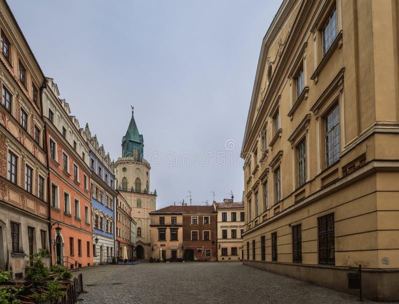 三位一体塔在鲁布林,波兰 库存图片