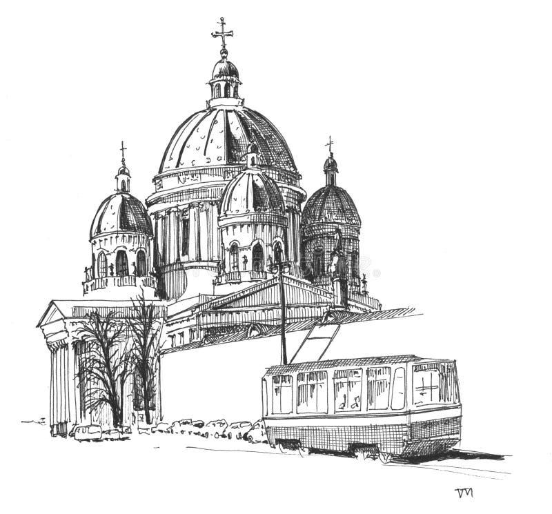 三位一体大教堂,圣彼得堡 向量例证