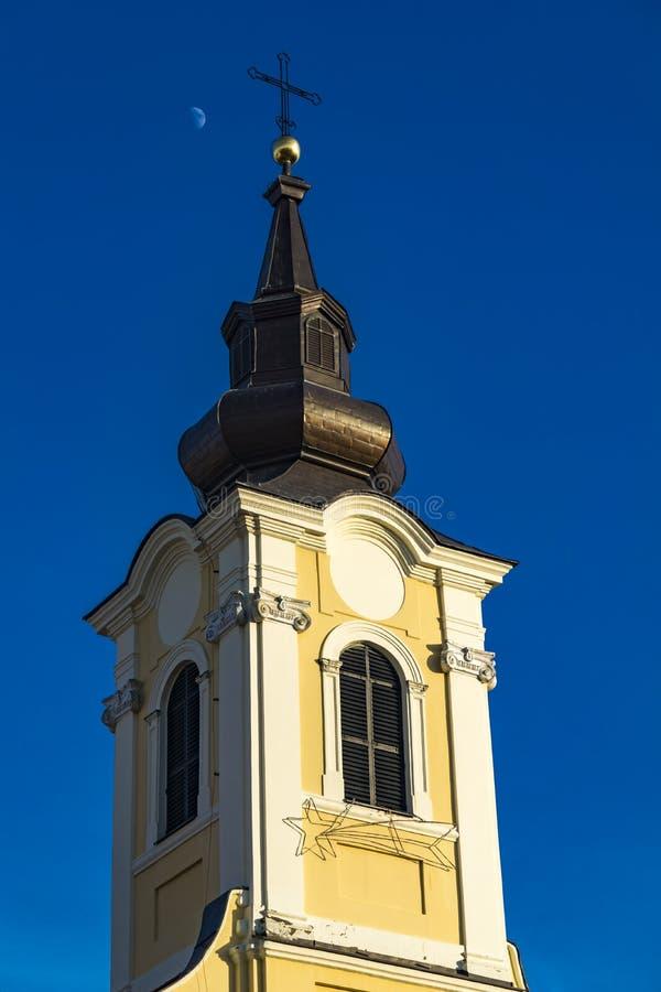 三位一体天主教会在斯雷姆斯基卡尔洛夫奇,塞尔维亚 免版税库存照片