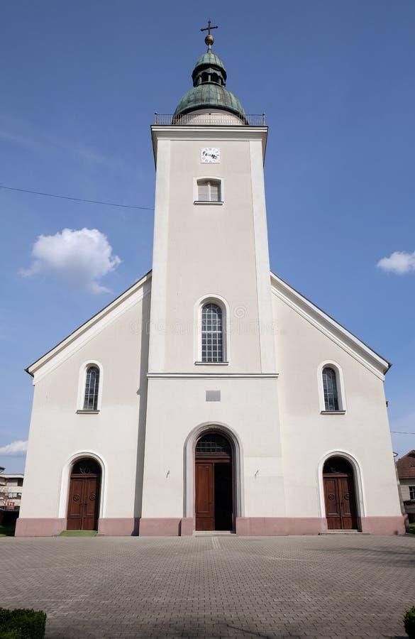 三位一体的教区教堂在下斯图比察,克罗地亚 免版税库存照片