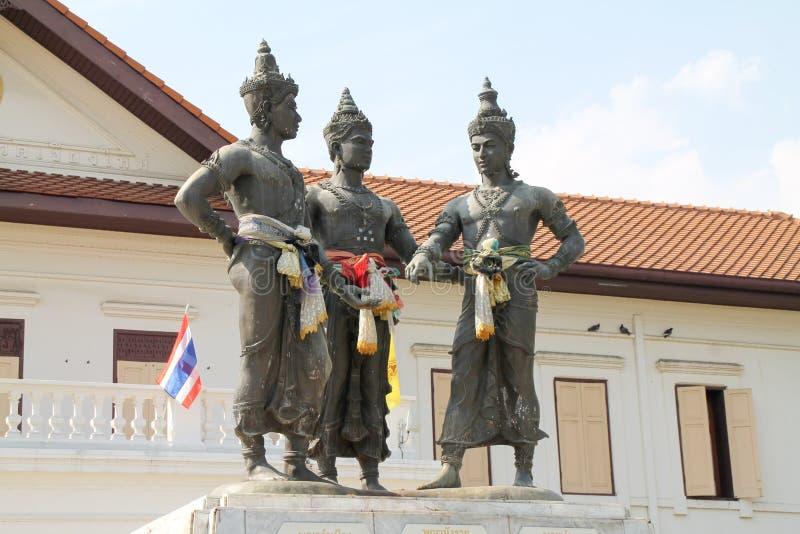 三位国王纪念碑,清迈,泰国 免版税库存图片