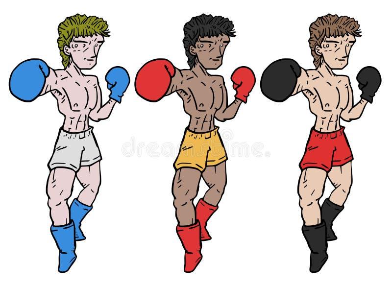 三位拳击手 皇族释放例证
