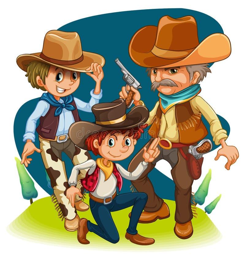 三位牛仔用不同的位置 皇族释放例证