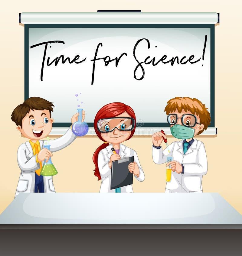 三位科学家在有词组时间的实验室的科学 皇族释放例证