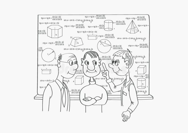 三位科学家谈论科学主题 库存例证