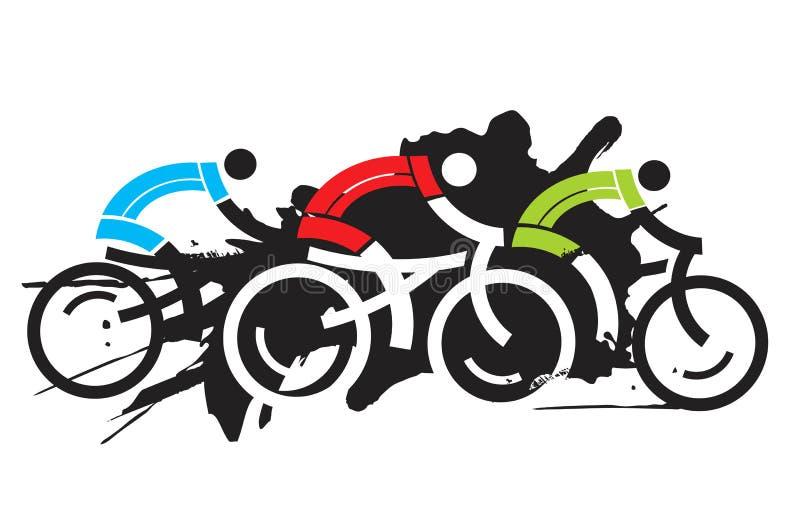 三位骑自行车者竟赛者 库存例证