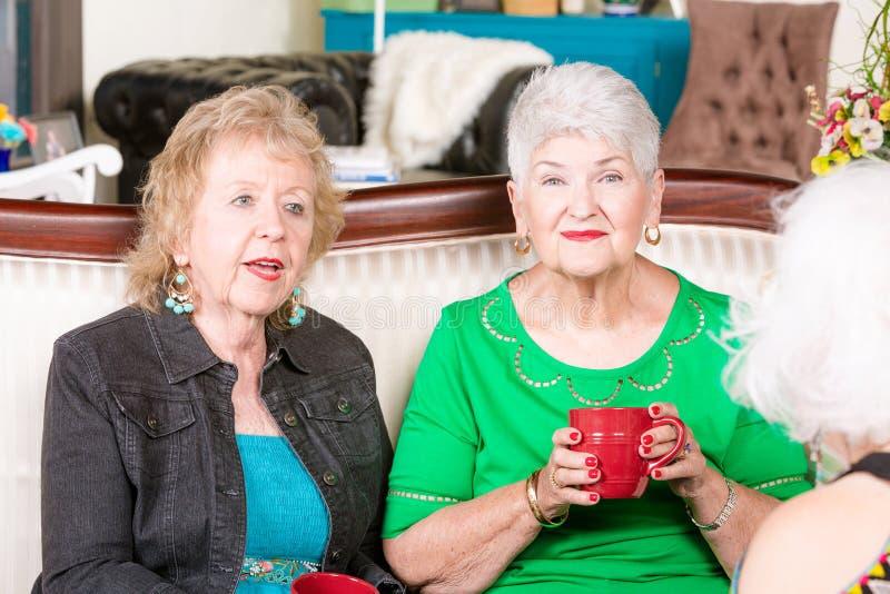 三位高级女性喝咖啡 免版税库存图片