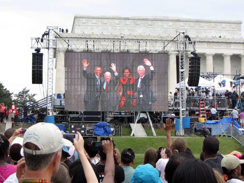 三位总统和米歇尔奥巴马 库存照片