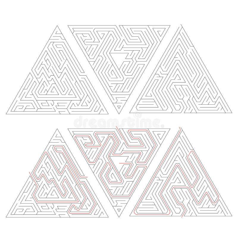 三使与在白色隔绝的解答红色道路的三角迷宫复杂化 库存例证