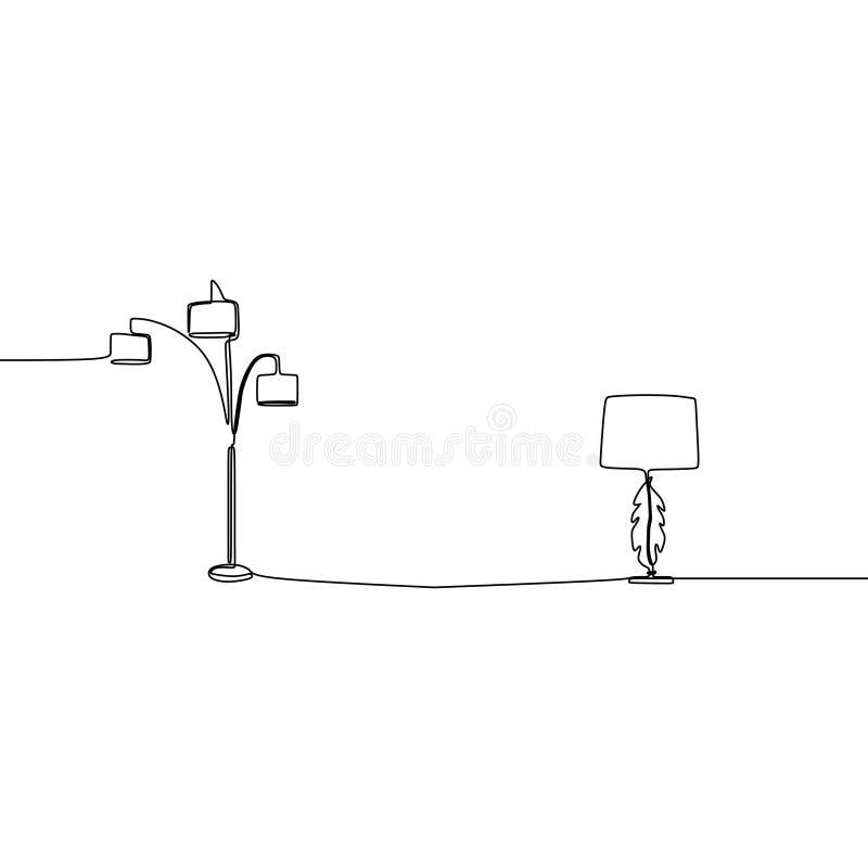 三倍灯唯一灯实线灯集合、天花板、桌、书桌和落地灯传染媒介例证  皇族释放例证
