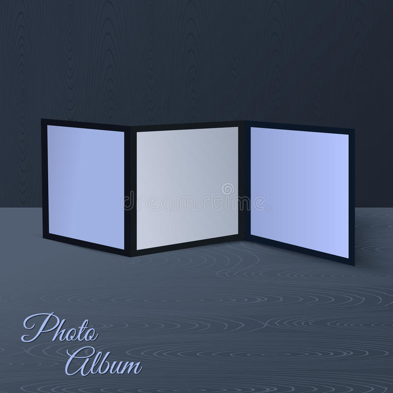 三倍的在木场面的小册子现实大模型或桌和墙壁 库存例证