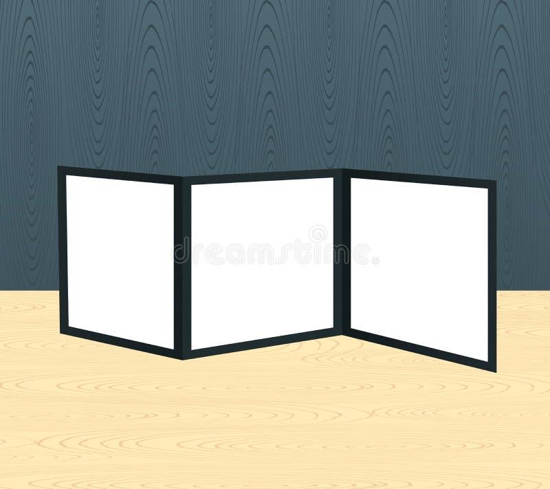 三倍的在木场面的小册子现实大模型或桌和墙壁 向量例证
