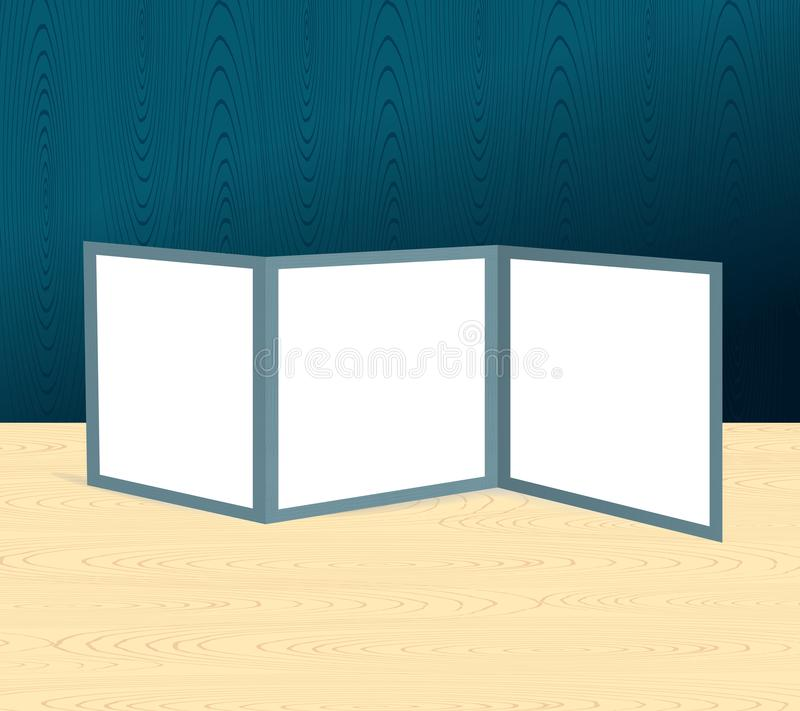 三倍的在木场面的小册子现实大模型或桌和墙壁 皇族释放例证