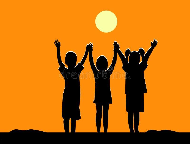 三儿童友谊剪影在日落的 向量例证