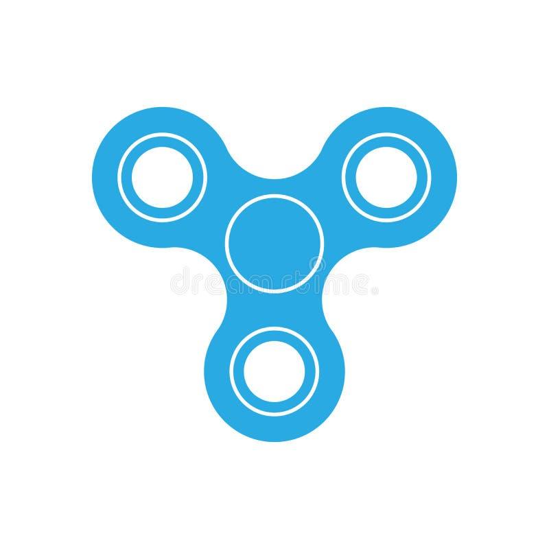 三刃状的坐立不安锭床工人-普遍的玩具和反重音工具 在白色隔绝的蓝色简单的平的传染媒介象 库存例证