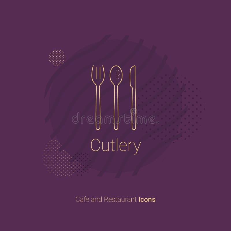 三利器刀子、匙子和叉子象  对餐馆和咖啡馆 皇族释放例证