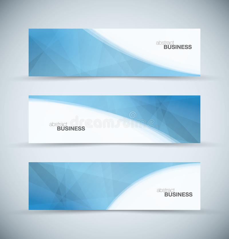 三副抽象蓝色企业倒栽跳水横幅 向量例证