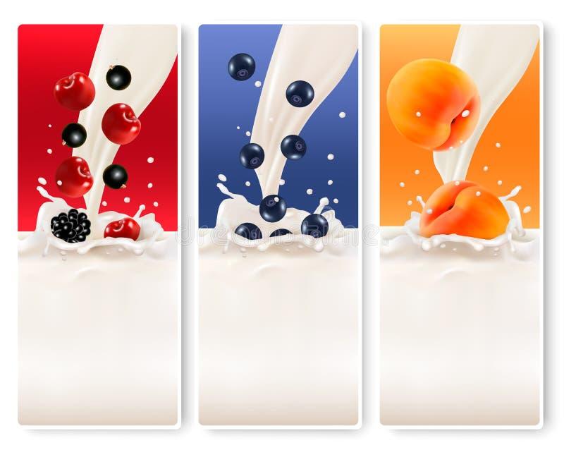 三副果子和牛奶横幅 皇族释放例证