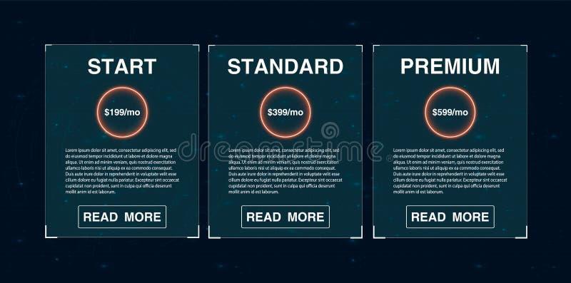 三副横幅 Pricelist,主持计划和网络设计箱子横幅 向量例证