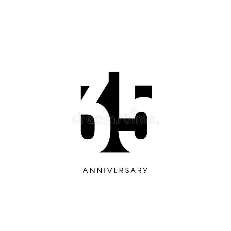 三十五周年, minimalistic商标 第三十五岁月,第35周年纪念,贺卡 生日邀请 35 皇族释放例证