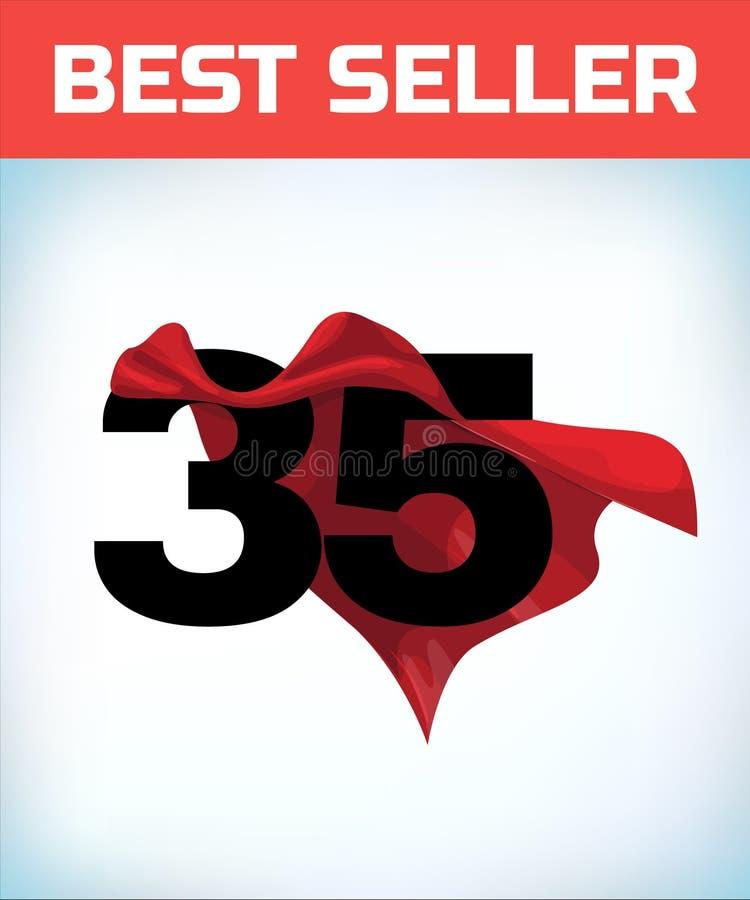三十五在红色英雄海角 超级斗篷 超能力 力量概念 领导标志 超级英雄标志 库存例证