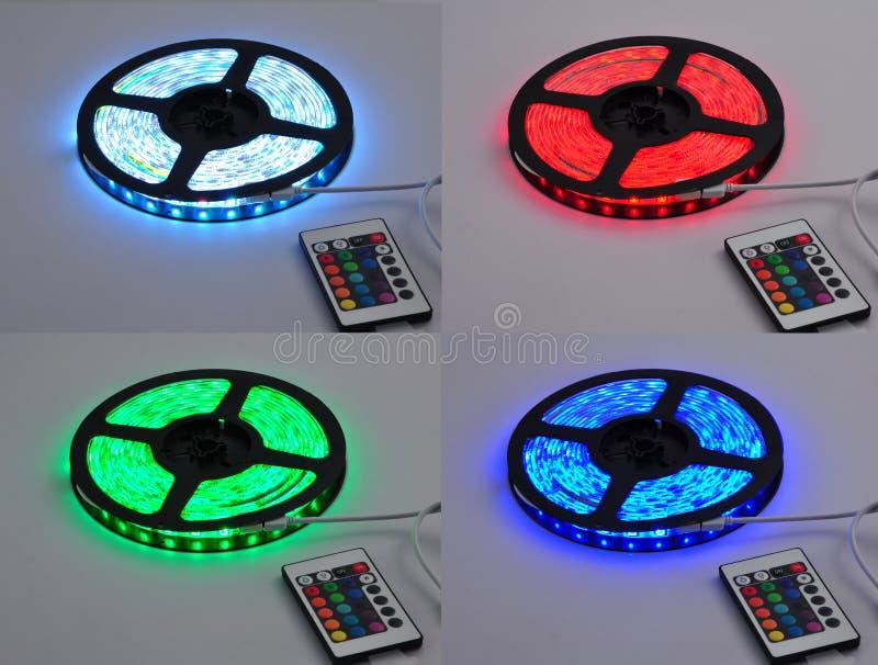 三原色光带领了传送带,被带领点燃家庭发光阶段照明设备灯具,五颜六色的被带领的传送带 库存图片